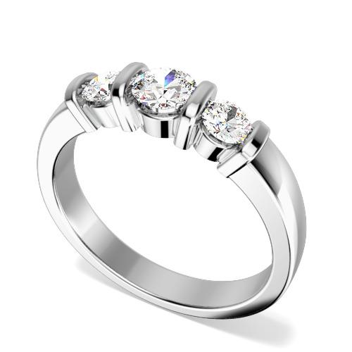 Inel de Logodna cu 3 Diamante Dama Aur Alb 18kt cu 3 Diamante Rotund Briliant in Setare Bara