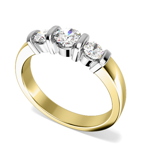 Inel de Logodna cu 3 Diamante Dama Aur Galben si Aur Alb 18kt cu 3 Diamante Rotund Briliant in Setare Bara