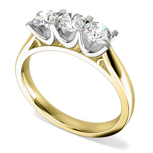 Inel de Logodna cu 3 Diamante Dama Aur Galben si Aur Galben si Aur Alb 18kt cu Diamante Rotund Briliant in Setare Gheare