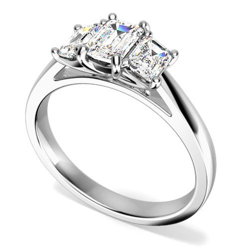 Inel de Logodna cu 3 Diamante Dama Aur Alb 18kt cu Diamante Taietura Smarald