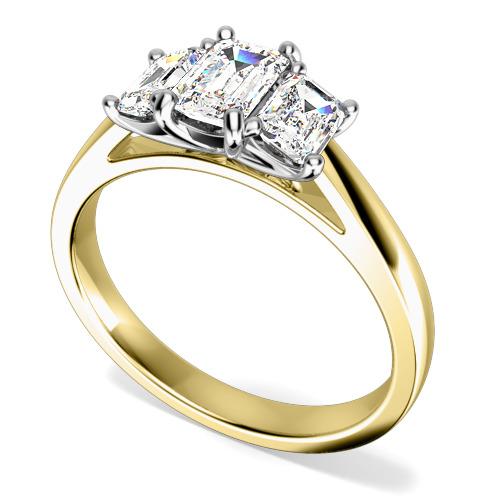 Inel de Logodna cu 3 Diamante Dama Aur Galben si Aur Alb 18kt cu Diamante Taietura Smarald