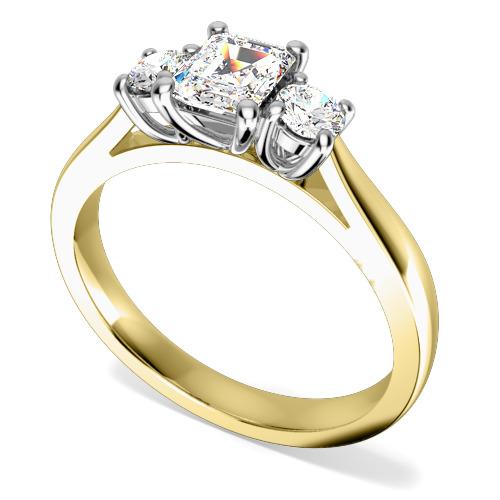 Inel de Logodna cu 3 Diamante Dama Aur Galben si Aur Alb 18kt cu un Diamant Central Forma Smarald si 2 Diamante Rotund Briliant