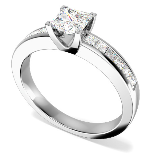 Inel de Logodna Solitaire cu Diamante Mici pe Lateral Dama Aur Alb 18kt cu un Diamant Princess in Setare Gheare si Diamante Princess in Setare Canal