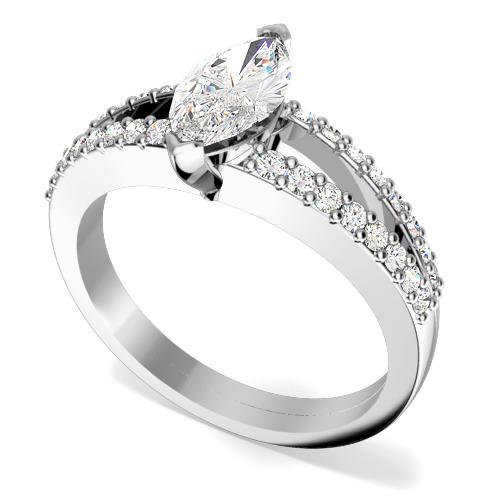 Inel de logodna cu Diamante Dama Aur Alb 18kt cu un Diamant Marchiza si 2 Randuri de Diamante Rotund Briliant