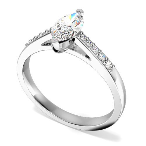 Inel de Logodna Solitaire cu Diamante Mici pe Lateral Dama Aur Alb 18kt cu un Diamant Marchiza si Diamante Rotunde pe Lateral