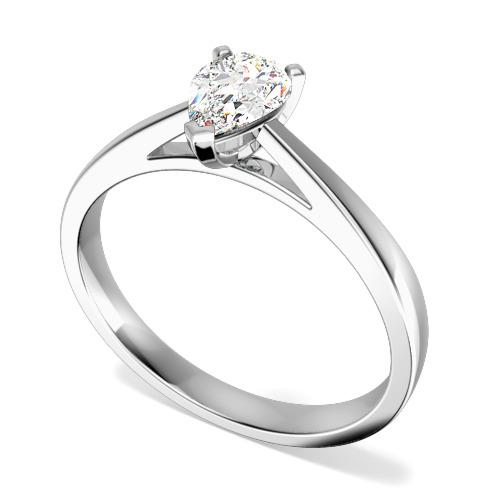 Inel de Logodna Solitaire Dama Aur Alb 18kt cu un Diamant Forma Para