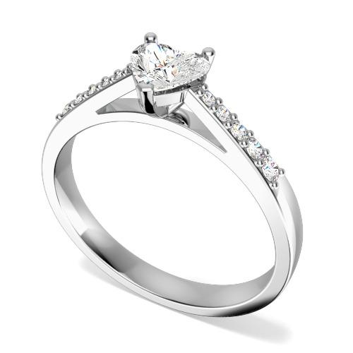 Inel de Logodna Solitaire cu Diamante Mici pe Lateral Dama Aur Alb 18kt cu un Diamant Forma Inima si Diamante Rotund Briliant