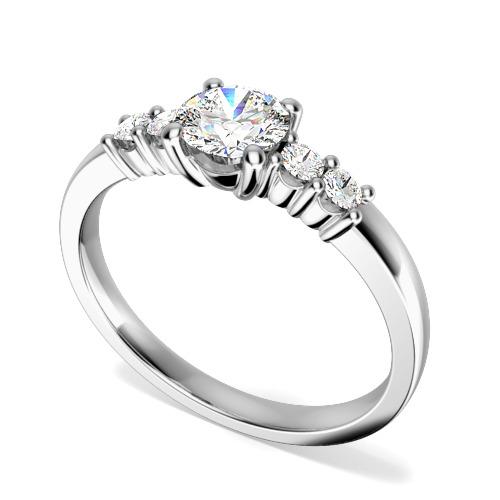 Inel de Logodna cu Mai Multe Diamante/Solitaire cu Diamante Mici pe Lateral Dama Aur Alb 18kt cu Diamante Rotund Briliant in Centru si pe Margini in Setare Gheare