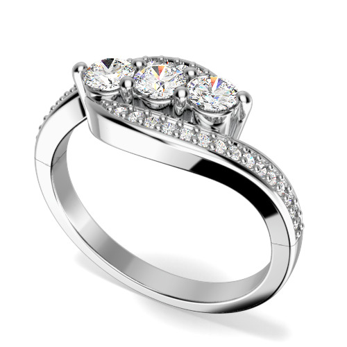 Inel de logodna cu Mai Multe Diamante/Inel cu 3 Diamante Dama Aur Alb 18kt cu 3 Diamante rotund Briliant in Centru si Diamante pe Margini