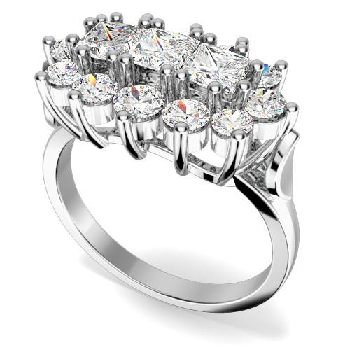 Inel Cocktail/Inel de Logodna cu Diamante Dama Platina cu 3 Diamante Princess si Diamante Rotund Briliant