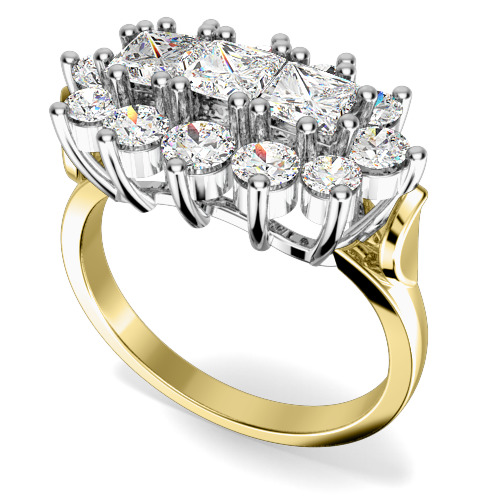 Inel Cocktail/Inel de Logodna cu Diamante Dama Aur Galben si Aur Alb 18kt cu 3 Diamante Princess si Diamante Rotund Briliant