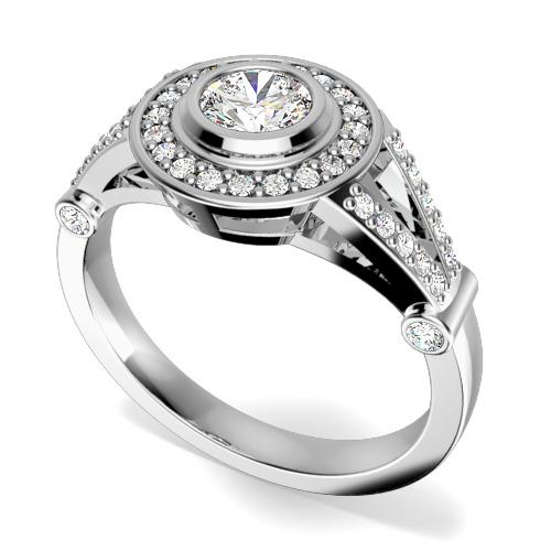 Inel de Logodna Solitaire cu Diamante Mici pe Lateral Dama Aur Alb 18kt cu Diamant Central Rotund Briliant in Setare Rub Over si Diamante Mici Rotund Briliant in Jur