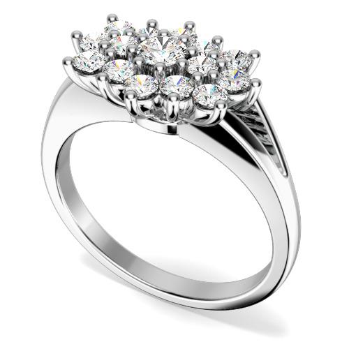 Inel Cocktail cu Diamante/Inel de Logodna Dama Aur Alb 18kt cu Diamante Rotund Briliant
