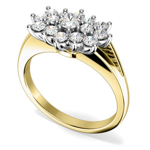Inel Cocktail cu Diamante/Inel de Logodna Dama Aur Galben si Aur Alb 18kt cu Diamante Rotund Briliant