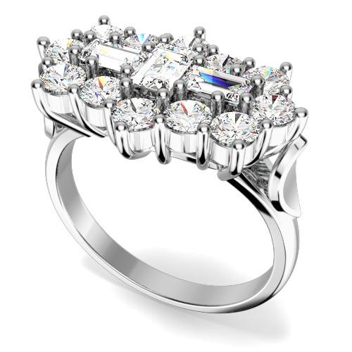 Inel Cocktail/Inel de Logodna cu Diamante Dama Platina cu Diamante Forma Bagheta si Rotund Briliant