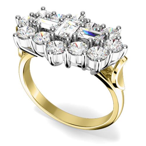 Inel Cocktail/Inel de Logodna cu Diamante Dama Aur Galben si Aur Alb 18kt cu Diamante Forma Bagheta si Rotund Briliant