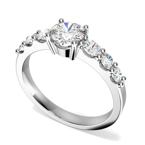 Inel de Logodna cu Mai Multe Diamante/ Solitaire cu Diamante Mici pe Lateral Dama Aur Alb 18kt cu 7 Diamante Forma Rotund Briliant