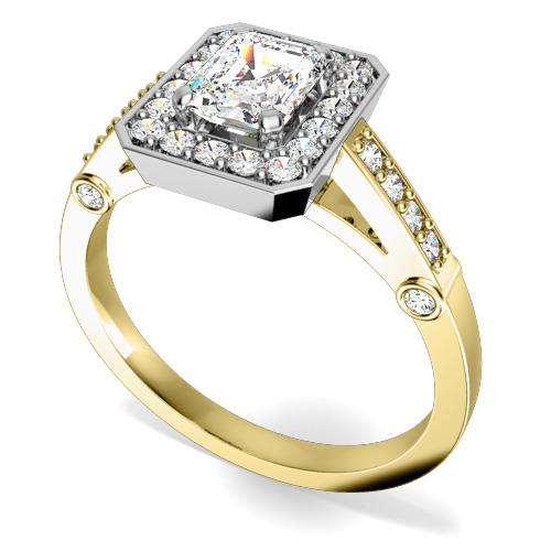 Inel Cocktail/Inel de Logodna cu Diamante Dama Aur Galben si Aur Alb 18kt cu Diamant Central Forma Smarald si Diamante Rotunde Briliant