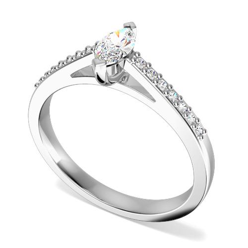 Inel de Logodna Solitaire cu Diamante Mici pe Lateral Dama Aur Alb 18kt cu un Diamant Marchiza si Diamante Rotunde Briliant