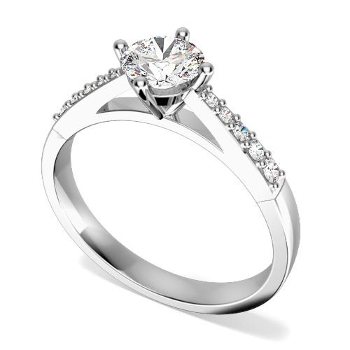 Inel de Logodna Solitaire cu Diamante Mici pe Lateral Dama Aur Alb 18kt cu Diamante Rotunde In Setare Gheare in Stoc