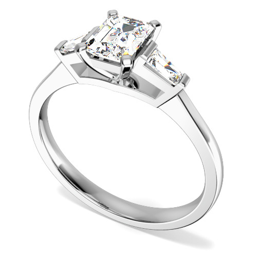 Inel de Logodna Solitaire cu Diamante Mici pe Lateral Dama Aur Alb 18kt cu un Diamant Forma Smarald si Diamante Bagheta pe Lateral