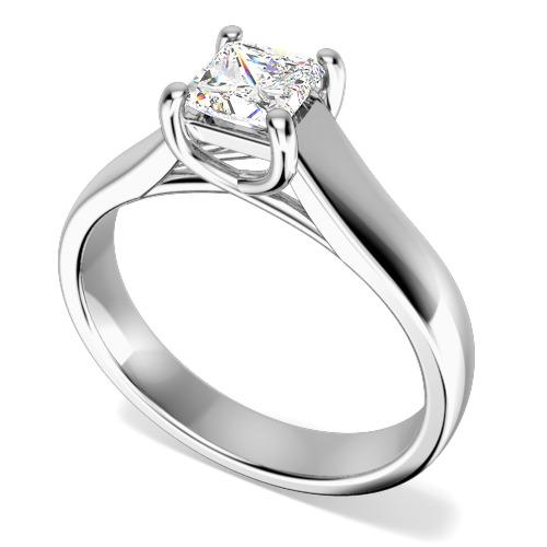 Inel de Logodna Solitaire Dama Aur Alb 18kt cu Diamant Princess in Setare cu Gheare