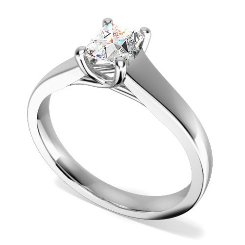 Inel de Logodna Solitaire Dama Aur Alb 18kt cu un Diamant Forma Smarald in Setare 4-Gheare