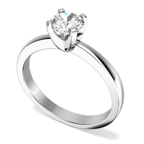 Inel de Logodna Solitaire Dama Platina cu un Diamant Rotund Briliant, Stil Clasic