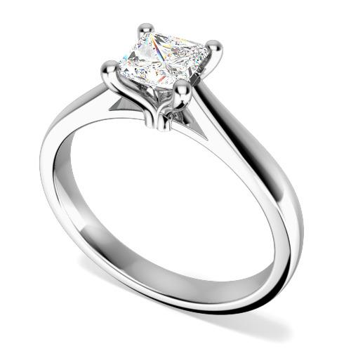 Inel de Logodna Solitaire Dama Aur Alb 18kt cu un Diamant Taietura Patrata Princess