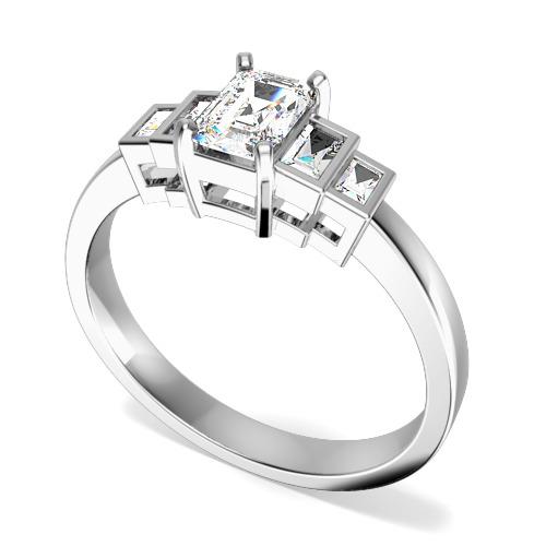 Inel de Logodna cu Mai Multe Diamante/ Solitaire cu Diamante Mici pe Lateral Dama Aur Alb 18kt cu un Diamant Smarald si Diamante Bagheta pe Margini