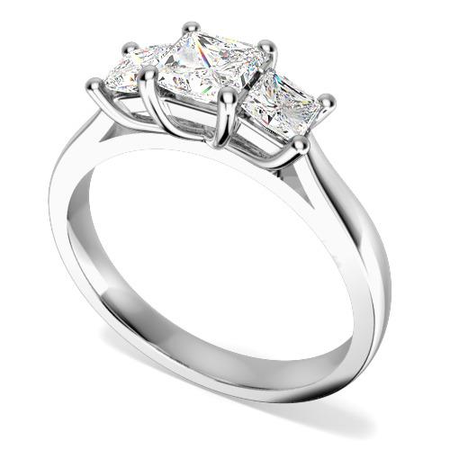 Inel de Logodna cu 3 Diamante Dama Aur Alb 18kt cu 3 Diamante Princess in Setare Gheare