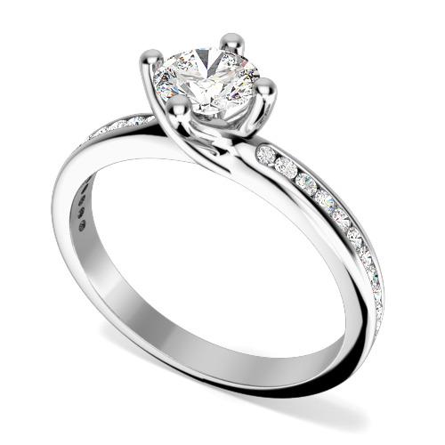 Inel de Logodna Solitaire cu Diamante Mici pe Lateral Dama Aur Alb 18kt cu un Diamant Rotund Briliant in Setare 4-Gheare si 11 Diamante Rotund Briliant pe Fiecare Parte