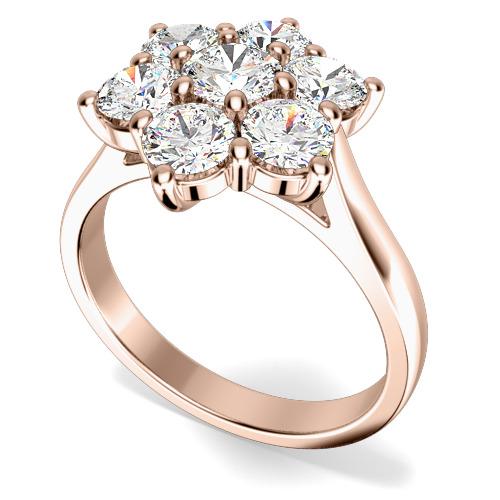 Inel de Logodna Cluster cu Mai Multe Diamante Dama Aur Roz 18kt cu 7 Diamante Rotund Briliant in Setare Gheare