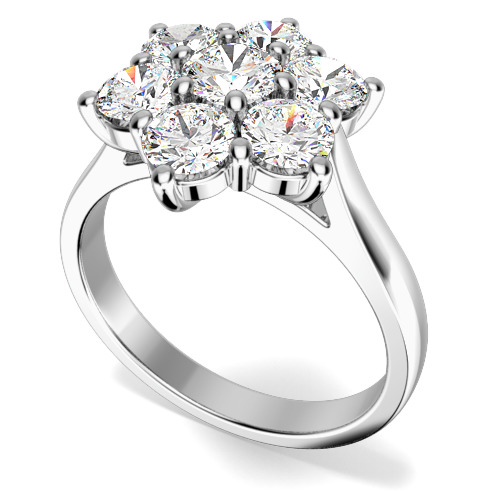 Inel de Logodna Cluster cu Mai Multe Diamante Dama Aur Alb 18kt cu 7 Diamante Rotund Briliant in Setare Gheare