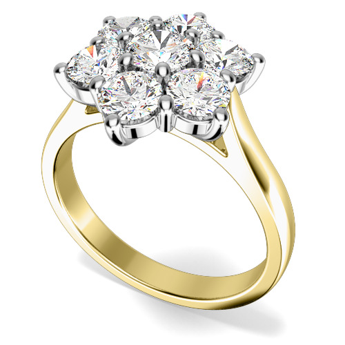 Inel de Logodna Cluster cu Mai Multe Diamante Dama Aur Galben si Aur Alb 18kt cu 7 Diamante Rotund Briliant in Setare Gheare