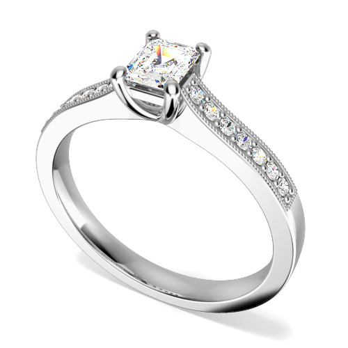 Inel de Logodna Solitaire cu Diamante Mici pe Lateral Dama Aur Alb 18kt cu un Diamant Forma Smarald si 14 Diamante Rotund Briliant