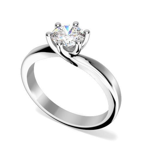 Inel de Logodna Solitaire Dama Aur Alb 18kt cu Diamant Rotund Briliant in Setare 6-Gheare, Stil Rasucit