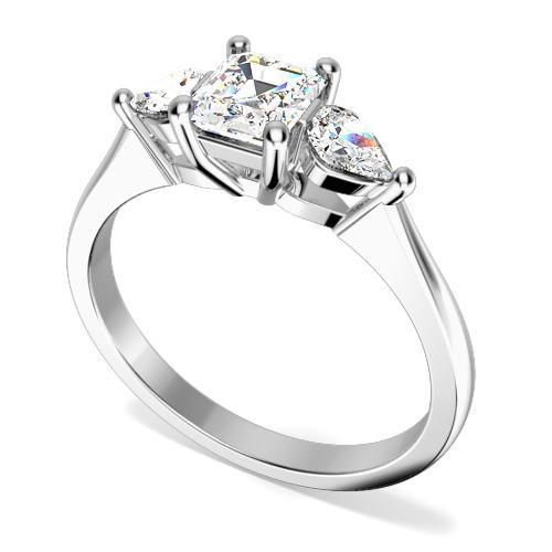 Inel de Logodna cu 3 Diamante Dama Aur Alb 18kt cu Diamant Central Forma Smarald si 2 Diamante in Forma de Para in Setare cu Gheare