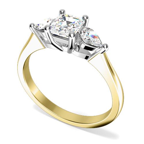 Inel de Logodna cu 3 Diamante Dama Aur Galben si Aur Alb 18kt cu Diamant Central Forma Smarald si 2 Diamante in Forma de Para in Setare cu Gheare