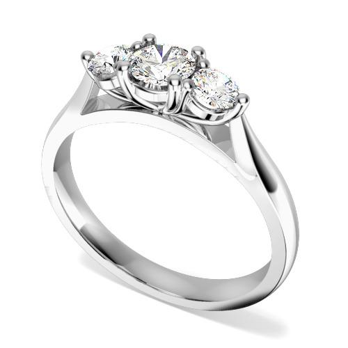 Inel de logodna/Inel cu 3 Diamante Dama Aur Alb 18kt cu Trei Diamante Rotund Briliant in Setare cu Gheare