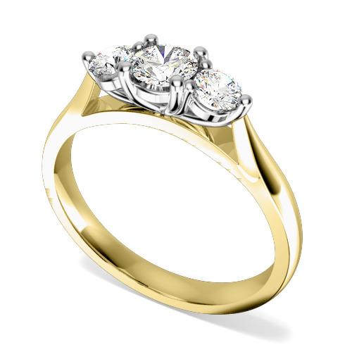 Inel de logodna/Inel cu 3 Diamante Dama Aur Galben si Aur Alb 18kt cu Trei Diamante Rotund Briliant in Setare cu Gheare