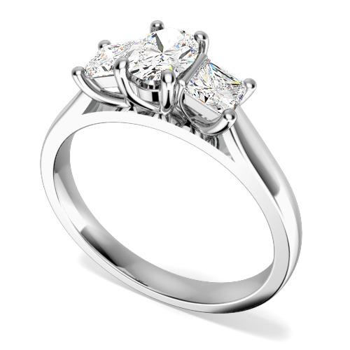 Inel cu 3 Diamante Dama Aur Alb 18kt cu un Diamant Oval si 2 Diamante Princess in Setare Gheare