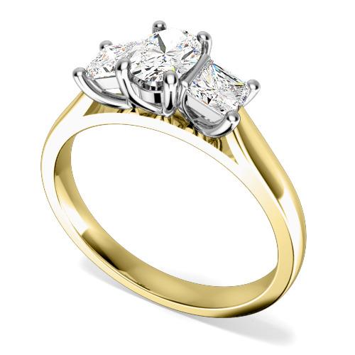 Inel cu 3 Diamante Dama Aur Galben si Aur Alb 18kt cu un Diamant Oval si 2 Diamante Princess in Setare Gheare