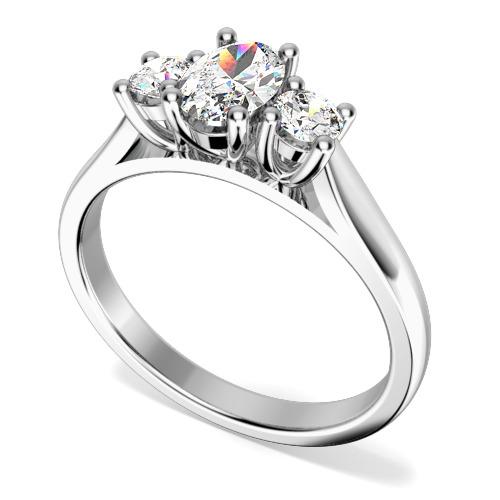 Inel de Logodna cu 3 Diamante Dama Aur Alb 18kt cu un Diamant Oval in Centru si Diamante Rotund Briliant pe Fiecare Parte in Setare Gheare