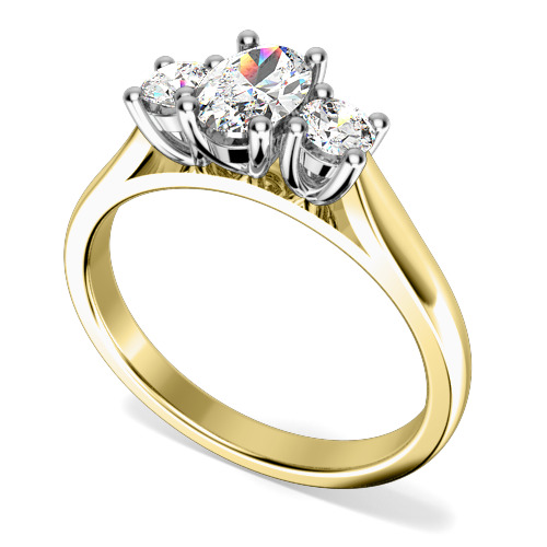 Inel de Logodna cu 3 Diamante Dama Aur Galben si Aur Alb 18kt cu un Diamant Oval in Centru si Diamante Rotund Briliant pe Fiecare Parte in Setare Gheare