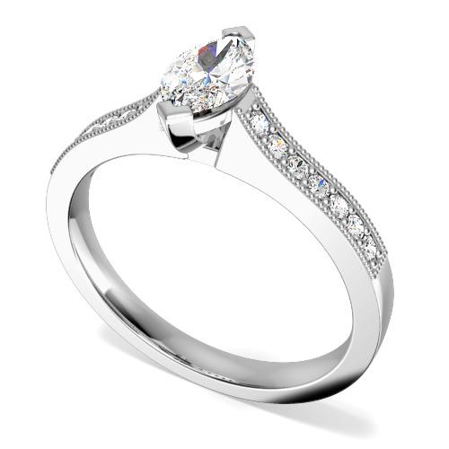Inel de Logodna Solitaire cu Diamante Mici pe Lateral Dama Aur Alb 18kt cu un Diamant Marchiza si 7 Diamante Rotund Briliant pe Fiecare Parte