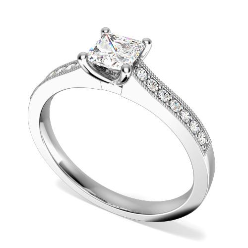 Inel de Logodna Solitaire cu Diamante Mici pe Lateral Dama Aur Alb 18kt cu un Diamant Princess si 14 Diamante Rotund Briliant in Setare Gheare