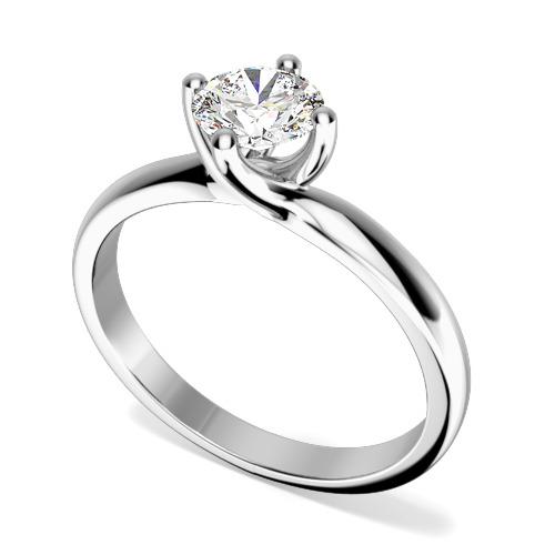 Inel de Logodna Solitaire Dama Aur Alb 18kt cu un Diamant Rotund Briliant in Setare 4-Gheare, Montura Rasucita
