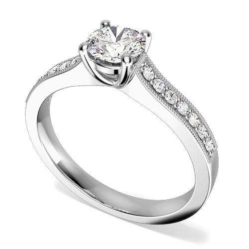 Inel de Logodna Solitaire cu Diamante Mici pe Lateral Dama Aur Alb 18kt Setat cu Diamant Central Rotund Briliant si Diamante Rotund Briliant pe Lateral