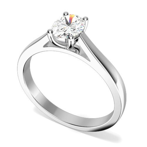Inel de Logodna Solitaire Dama Aur Alb 18kt cu un Diamant Oval in Setare 4-Gheare